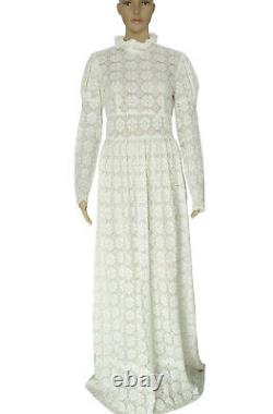 Warm Floral Pattern Crochet Ruffle Long Sleeve High Neck Ivory Maxi Dress S New