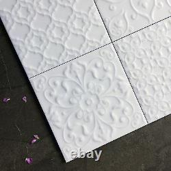 White Gloss victorian patchwork with raised pattern wall tiles