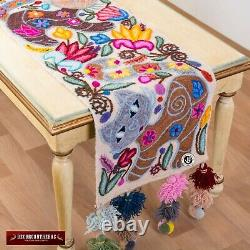 White Table runner Handmade Love Cats- Hand Embroidered Table Runners patterns