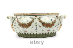 White and Gold Chinoiserie Floral Pattern Porcelain Oval Basin Pot