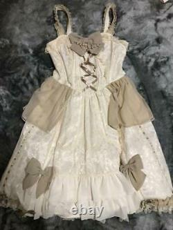 Angelic Pretty Dress Ivoire Blanc Rose Pattern Dentelle Lolita Authentic Used #4716a