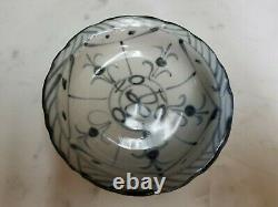 Antique Ming Dynasty Blue & White Footed Dish Floral Pattern