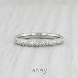 Bague Florale Art Déco 18k White Gold Womens Wedding Band Taille 6 Flower Pattern