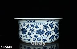 Chinois Ming Dynasty Blue And White Entwined Branch Floral Pattern Hand Basin