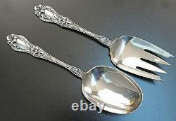 Frank M Whiting Lily Aka Floral Pattern All Sterling Salad Serving Set