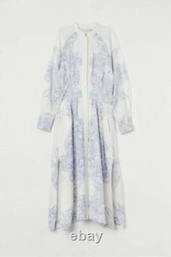 H&m White Blue Patterned Calf-length Kaftan Linen Viscose Weave Sold Out Taille L