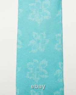 Isaia Napoli T.n.-o. 230 $ Blue White Floral Pattern 7 Fold Silk Classic Tie 3.5