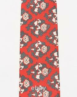 Isaia Napoli T.n.-o. 230 $ Red Gray White Floral Pattern 100% Cotton Tie 3 Italie