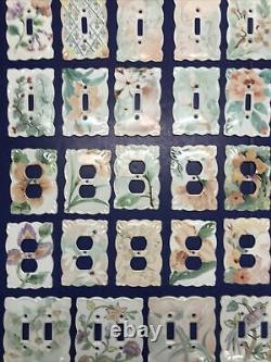 Lot Of 45 Porcelain Ceramic Outlet & Light Switch Covers Floral Pattern No Chips