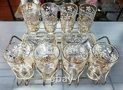 MID Century Anchor Hocking Or/white Floral Pattern Highball Glasses/trays Set