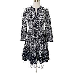 Maje Rayana Robe Navy White Fit Eyelet Long Sleeve Floral Pattern Taille L