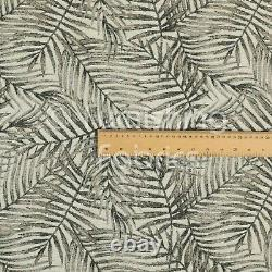 Moderne Jungle Leaf Inspired Pattern White Grey Brown Colour Chenille Rembourrage