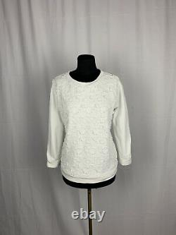 Moncler Floral Pattern Authentic Women's White Crewneck Sweater Taille M
