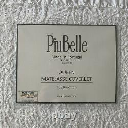 Piu Belle Portugal Matelasse Blanche Couverture Paisley Pattern Ruffled Flange Queen